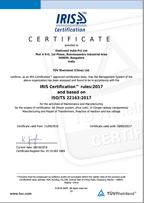 Certificazione Elettromil India