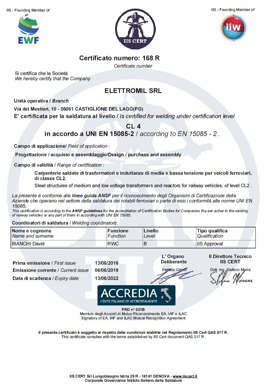 EN 15085-2 CL4 Elettromil S.r.l.