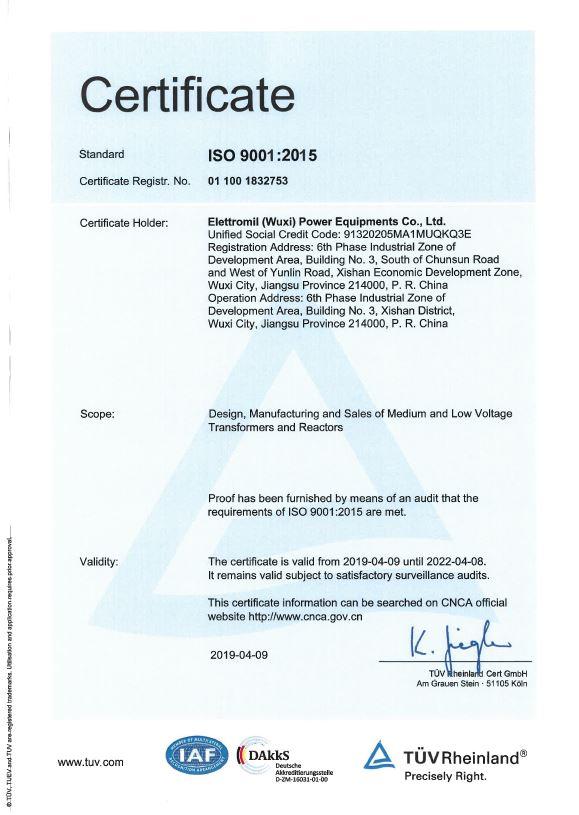ISO 9001 Elettromil Cina