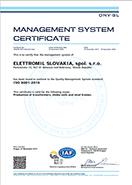 ISO 9001 Elettromil Slovakia