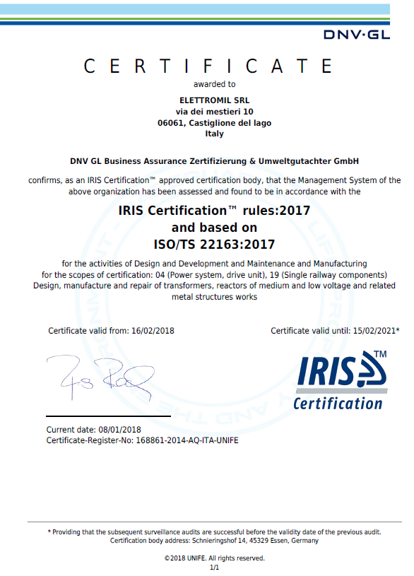 IRIS Certificate